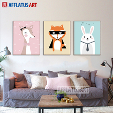 AFFLATUS Nordic Wall Art Posters And Prints Kawaii Animals Wall Pictures For Kids Room Canvas Painting Nursery Baby Room Decor