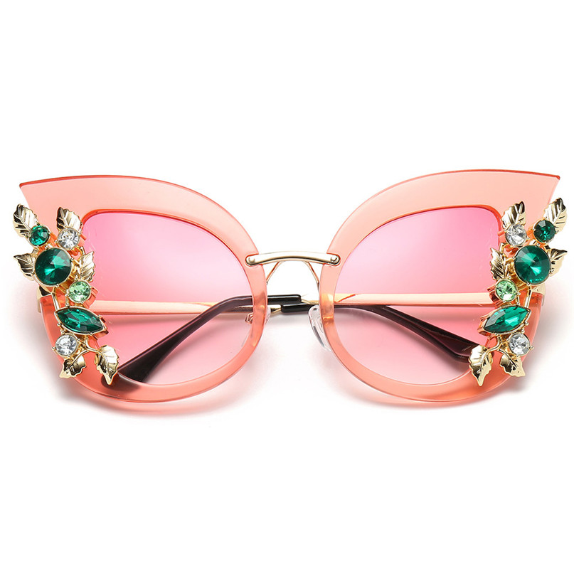 Sport Sunglasses Cycling Eyewear Womens Fashion Artificial Diamond Cat Ear Metal Frame Brand Classic Sunglasses #2J06#F (7)
