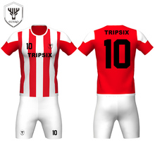 wholesale stylish red and white reversible youth sublimated football jerseys made in thailand(China)