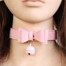 Buy RABBITOW Sex Neck Collar Bondage Soft Leather Sexy Creative Bowknot Bell Neck Collar Restraints Neck Lock Couple SM Sex Toy
