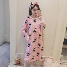 Send Hair Band 2017 Autumn Winter Print Warm Flannel Nightgown Home Wear Lovely Nightgowns For Women Girl Sleepwear&Nightgown(China)