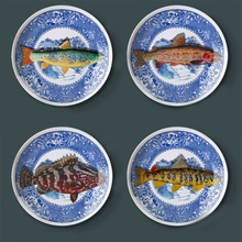 Blue and white fish dish restaurant background wall decoration hanging plate ceramic plate home jewelry crafts plate ornaments(China)