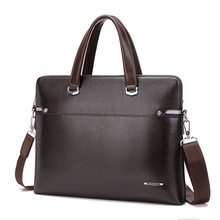 2017Luxury Leather Attache Case Men Briefcase Male Leather Office Bags for Men Work Bag Leather Laptop Bag Over Shoulder(China)