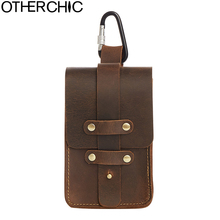 OTHERCHIC New Crazy Horse Genuine Leather Mens Waist Packs Bag Travel Fanny  Wallet Purses Phone Pouch Small Pocket 17Y06-02