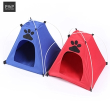 2 Color Paw Print Oxford Pet Tents For Puppies 2017New Cat House Dog's Home Cama De Cachorro Dog Beds For Small Dogs Travel Bed(China)