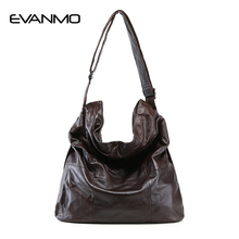 2017 Fashion Women Genuine Leather Bag Casual HOBO Women Shoulder Bag Soft Large Bucket Shopping Bag First Skin Cowhide Bag Tote(China)
