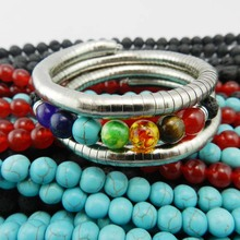 Top Quality Multi-color 7 Chakra Healing Balance Beads Bracelet Yoga Energy Natural Stone Geode Bracelet Women Men Jewelry