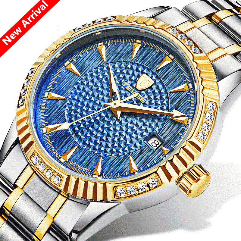 Bule Men Watches Luxury Brand TEVISE Automatic Mechanical Watch Waterproof Calendar Steel Mens Wrist Watches Relogio Masculino<br>