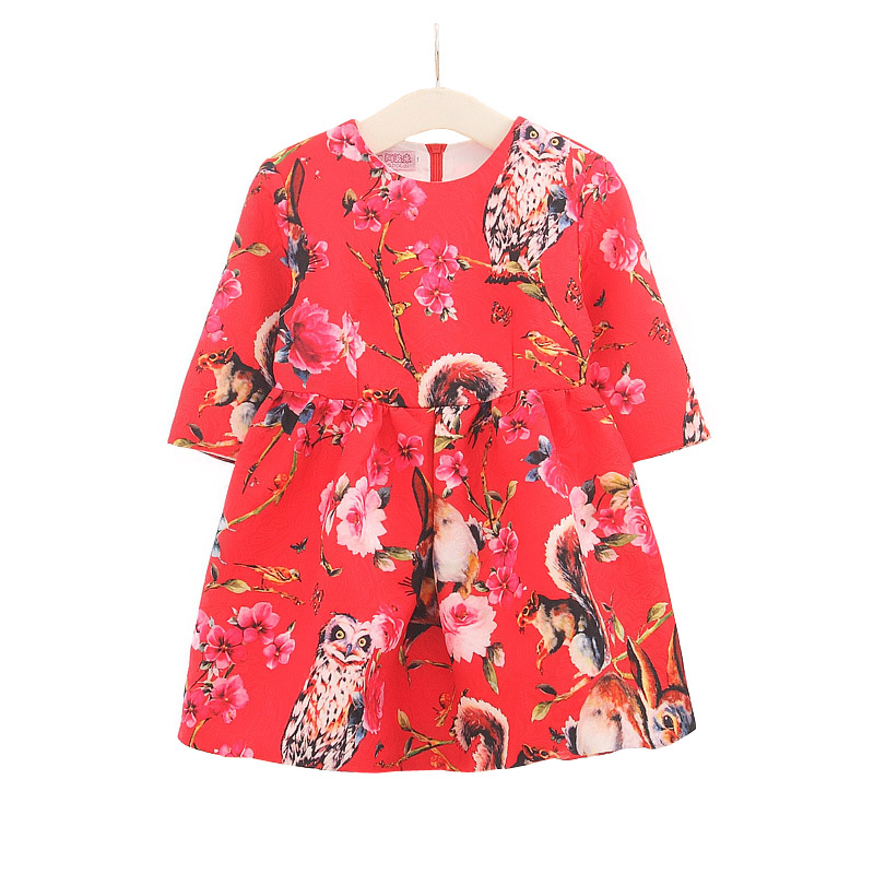 2016 European style child dresses fashion Carnation girl princess dress 3-8T spring autumn long sleeve girls A-line dress<br>