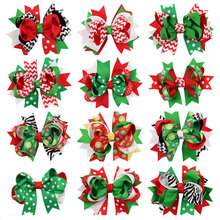 1pc Child Girl Bow Large Layered Boutique Spike Christmas Bows hairpin Clip in Red Green Party Hair Accessary 1pc BB030(China)