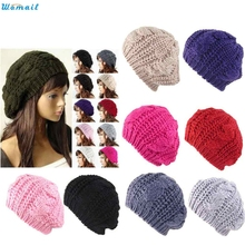 Best Price Fashion Women's Lady Beret Braided Baggy Beanie Crochet Warm Winter Hat Ski Cap Wool Knitted