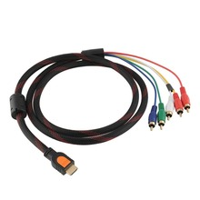 HD 1080p HDMI Male to 5 RCA YPbPr Audio AV Component Convertor Cable Lead