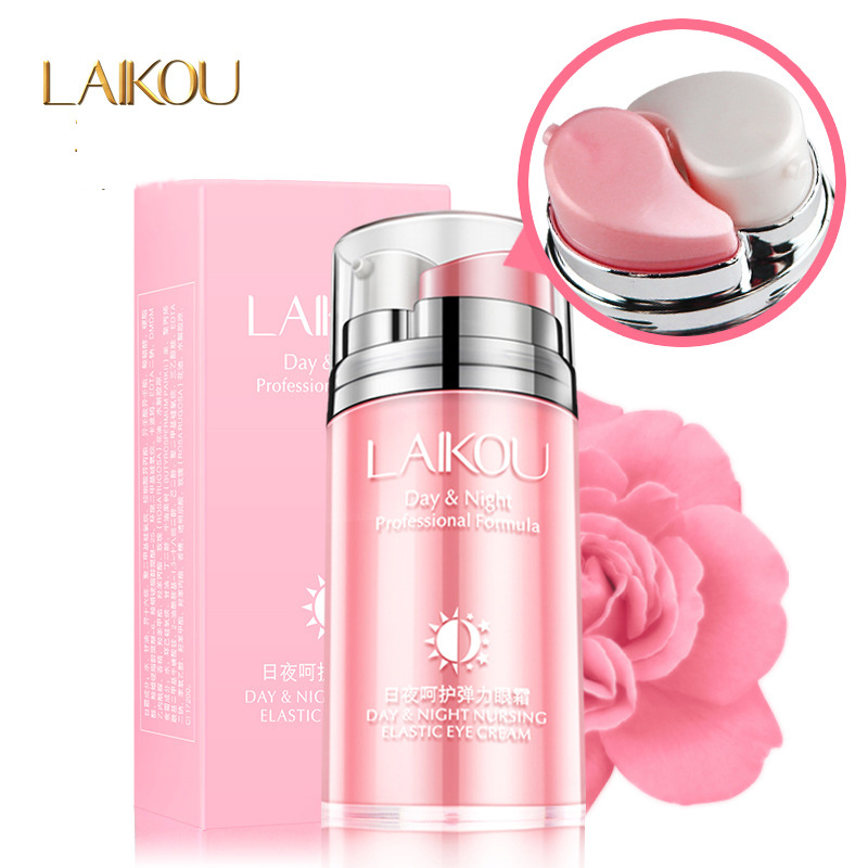 LAIKOU Day Night Anti-Puffiness Eyes Creams Skin Care Rose Essential Oil Dark Circle Anti-Aging Moisturizing Eye Cream 20g