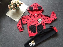 2016 New Girls Clothes Minnie Mouse Clothing Sets Cartoon Cotton Casual Tracksuits Kids Clothes Sports Suit Children Clothing