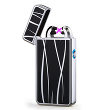 LED Switch Cigarette Lighter Plasma Electric Usb Charging Lighters Double Arc Plasma Windproof Eletronic Pulse Cigar Lighter