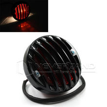 Universal Round Black Motorcycle Rear Tail Brake Light For Harley Bobber Chopper Custom Black 12V D15