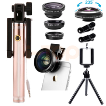 Newest Cell Phone Lenses Kit 2in1 Digital HD 0.45X Super Wide Angle Macro Lens 235 degrees Fisheye Lentes For iPhone 5 5S 6 6S 7(China)