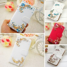 Huawei P8 Lite Case, New Red White Blue Rhinestone High quality leather Mobile phone holster protection Case for Huawei P8 Lite