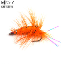 Saltwater Bait Shrimp Fly-Fishing-Hooks Fish-Flies 4pcs Orange Rainbow Artificial-Trout