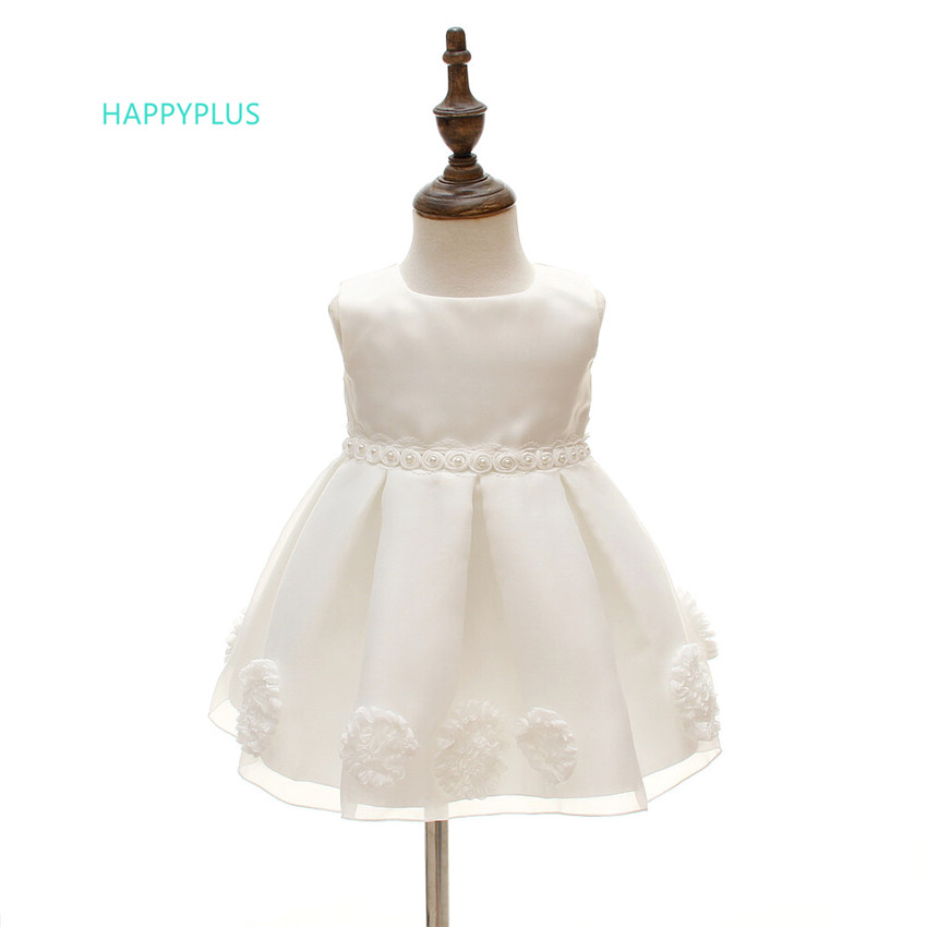HAPPYPLUS Summer Ivory Infant Dress Princess Floral Ball Gown Prom Baby Dress Tulle Birthday 1 2 Years Baby Girl Wedding Dresses