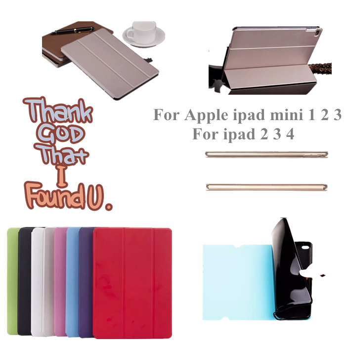 Ultra thin Stand Flip PU leather case TPU back cover  for For ipad 2 3 4 ipad mini 1 2 3 Tablet Case + screen protector+stylus<br><br>Aliexpress