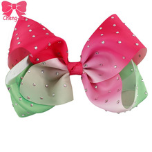 "3pcs/lot 7"" Big Grosgrain Ribbon Small Watermelon Rhinestone Bestie Hair Bow With Clip For Gilr Kids Diamond Hair Accessories()"