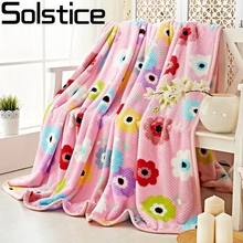 Solstlce Brand Bedding Winter Pink Flowers Thicker Coral Velvet Blankets For Beds Child Adult Cotton Throw Flower Fleece Blanket