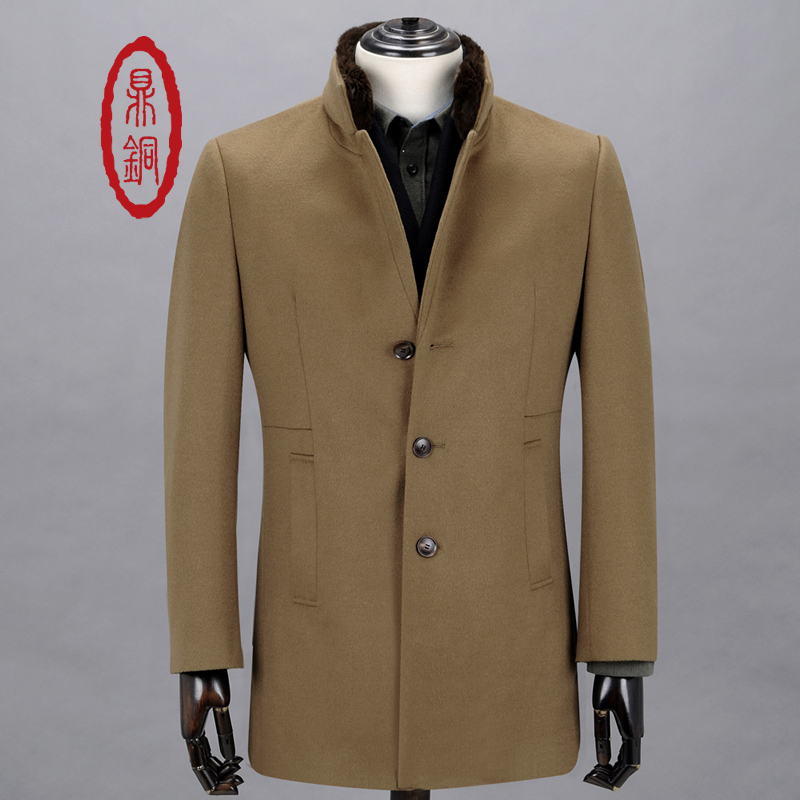 DINGTONG Wool Cashmere Coat Men's Single Breasted Long Trench Jacket Wool Overcoat Male Tan Coat Fur Collar Trench Manteau homme(China (Mainland))