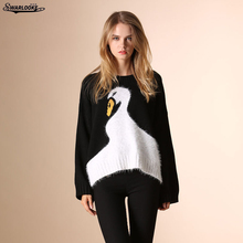 2017 Winter Fall Women Clothing New Fashion Lady O-Neck Casual Pullovers Long Sleeve Swan Animal Unicorn Hand Knitted Sweater(China)