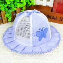 Summer Wide Brim Mesh Bucket Hat Child butterfly Sunbonnet Newborn Infant Visor Sun Hats Caps Soft Cotton Baby Girl Boys Toddler
