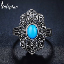 Iutopian Brand New Arrival Palace National Retro Ring with 3 Colors Stone Hollow Lace for Women #G3325blue