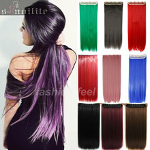 "26"" 68CM Straight One Piece Clip in on Hair Extensions Black Brown Blonde Pink Purple Green Blue Cosplay Vogue Party Hair"