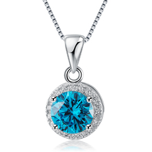 Yunicus Women's Blue CZ Round-Cut Sterling Silver Pendant Necklace, 18''