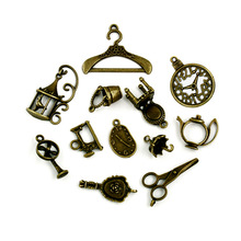 106pcs/lot Vintage Charms 12 style Mix Antique Bronze Alloy charm Pendant For women Jewelry Making Wholesale or Retail