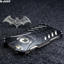 R-JUST Heavy Dust Metal Aluminum Batman Armor Case Cover For iPhone 8 7 7 Plus +Holder Black