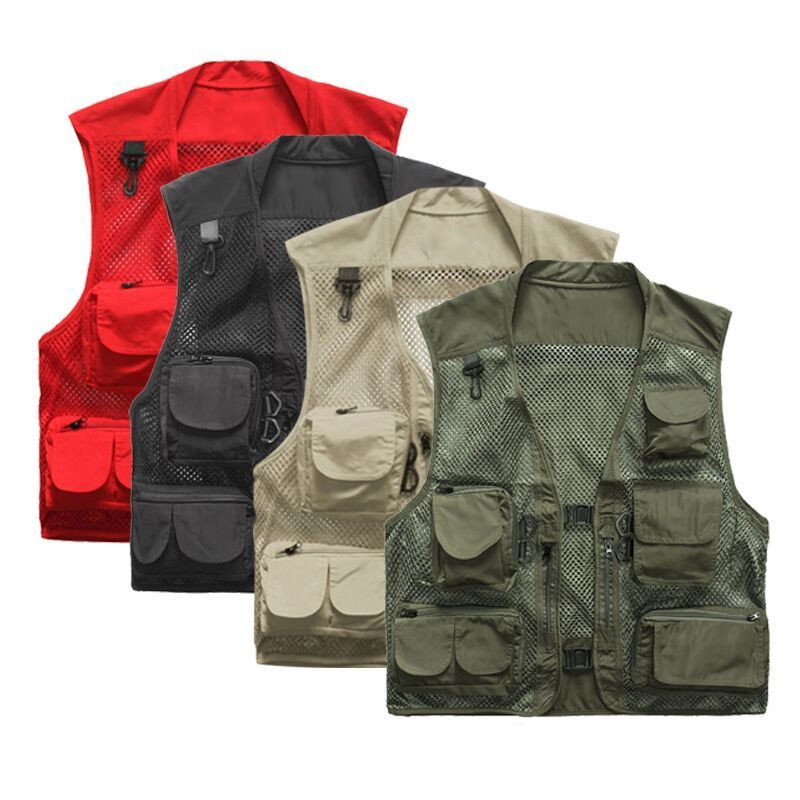Mens Quick-Dry Multi-Pocket Vest Outdoor Travelers Fly Fishing Jacket Plus Size