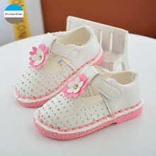 2017 Summer 1 to 3 years old princess shoes flowers baby girl sandals high quality soft bottom toddler shoes first walkers