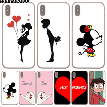 WEBBEDEPP best friend forever lovers couple Hard Transparent Cover Case for iPhone 8 Plus 7 Plus 6 6s Plus X/10 5 5S SE 5C 4 4S(China)