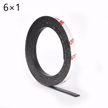 6*1 1 Meter self Adhesive Flexible Magnetic Strip 3M Rubber Magnet Tape width 6mm thickness 1mm Free Shipping 6mm x 1mm