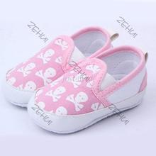 3 -6 Month Skull Pattern Baby Shoes Spring Autumn Canvas Casual Toddler Children Shoes(China)