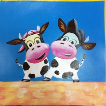 Hot Sale 100% Hand Painted  Canvas Painting  Cartoon Lovely Cow Animal Painting Modern Wall Picture  for Living Room Decoration