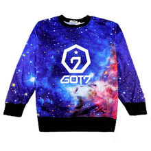 New print GOT7 starry sky cute Hoodies loose o-neck long-sleeved men Korean style fashion woman hoodies Outerwear(China)