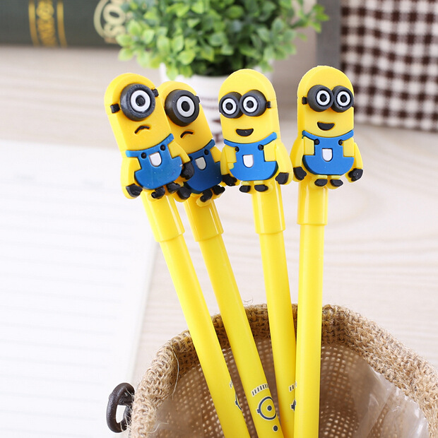 QSHOIC  100pcs South Korea Stationery small yellow people neutral pen one eyed dragon neutral pen wholesale cartoon neutral pen<br>