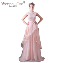VARBOO_ELSA Pink Lace Sweet Prom Dress 2017 Elegant Bow Belt Long Evening Dress Princess Party Dress V-back Homecoming Dresses(China)