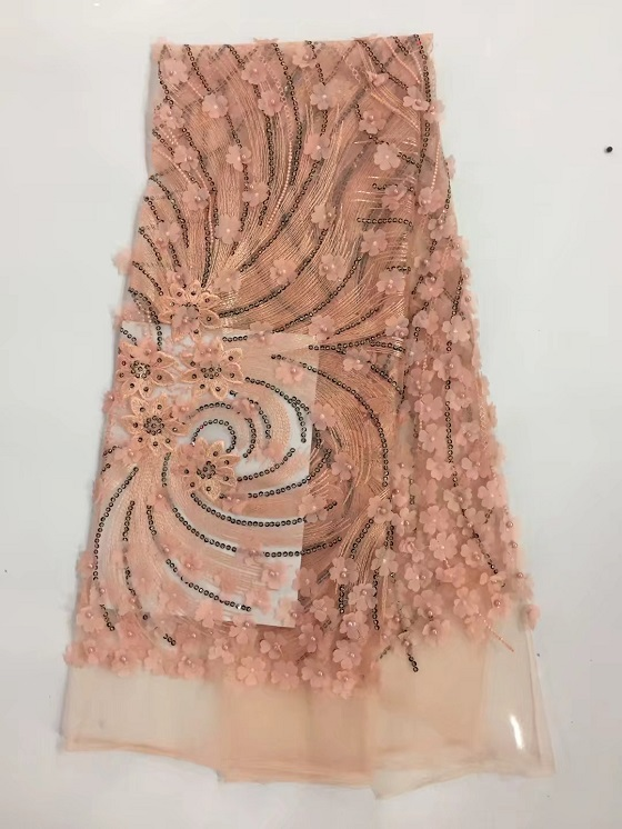 White french net lace peach high african tulle lace fabric 5yards embroidered tulle lace fabric sewing dresses gr (YF
