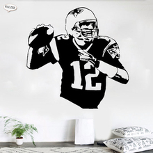 Tom Brady Rugby Player Wall sticker No12 Boy Kids Shop Club Home Decoration American Football Sports Athlete Decal Stickers(China)