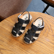 2017 Summer Child Casual Shoes Male Female Soft Leather Sandals Baby Toe Cap Covering Boys PU Leather Boys Sandals Kids Sneakers