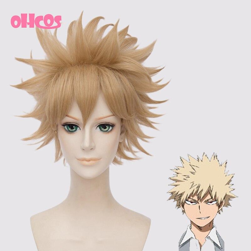 OHCOS Anime Boku no hero academia Katsuki Bakugou 12inches Short Synthetic Hair Cosplay Wig<br><br>Aliexpress