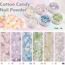 2g 6colors Marshmallow Cotton Candy Marble Stone Glitter Nail Powder Dust Sequins Manicure Nail Art 3D Decorations for Nail Gel
