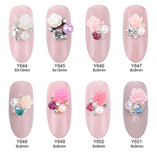 10pcs Flower square rhinestones pearl jewelry nail art design 3d nails decorations new arrive YNS088